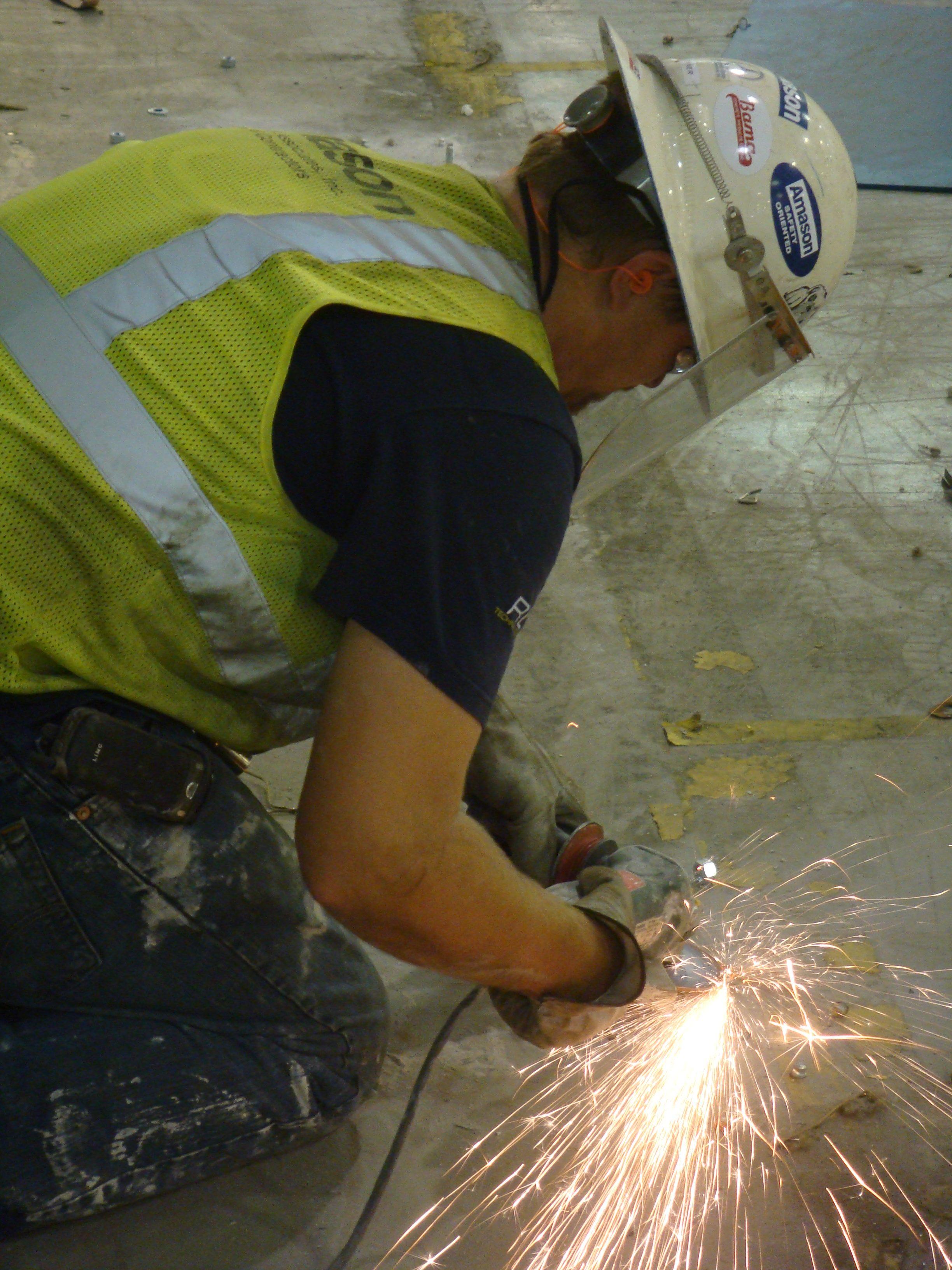 Amason employee grinding